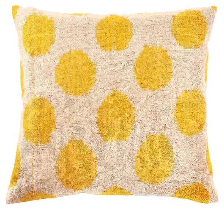 Dot 15x15 Silk Velvet Pillow, Yellow