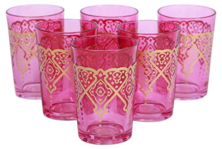 S/6 Punto Moroccan Glasses, Pink