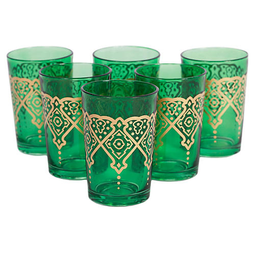 S/6 Punto Moroccan Glasses, Green