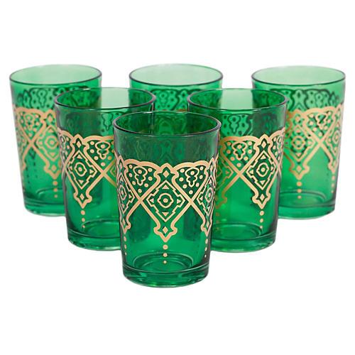 S/6 Punto Moroccan Glasses, Green