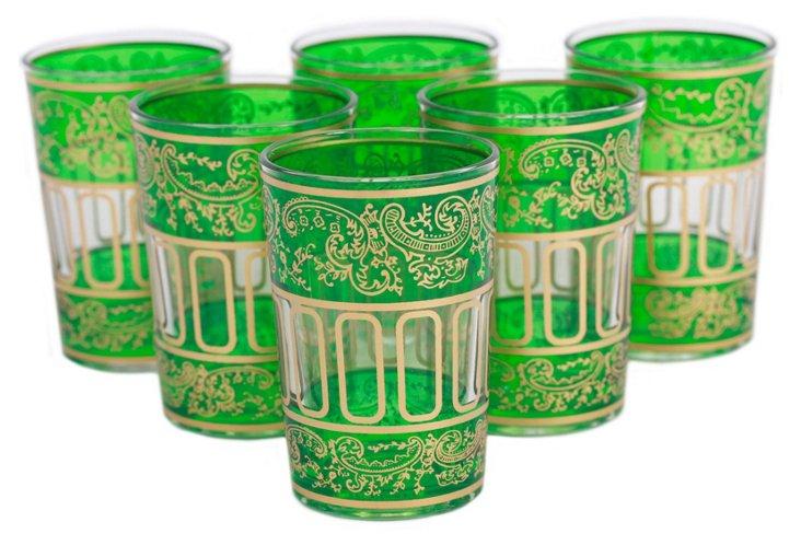 S/6 Punto Moroccan Glasses, Light Green