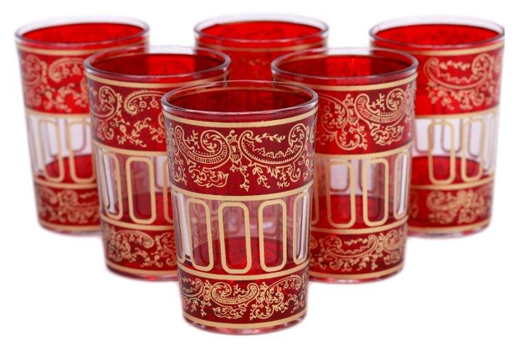 S/6 Lalla Moroccan Glasses, Red