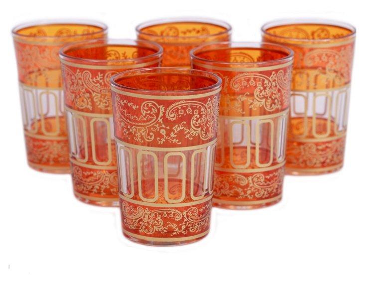 S/6 Lalla Moroccan Glasses, Orange