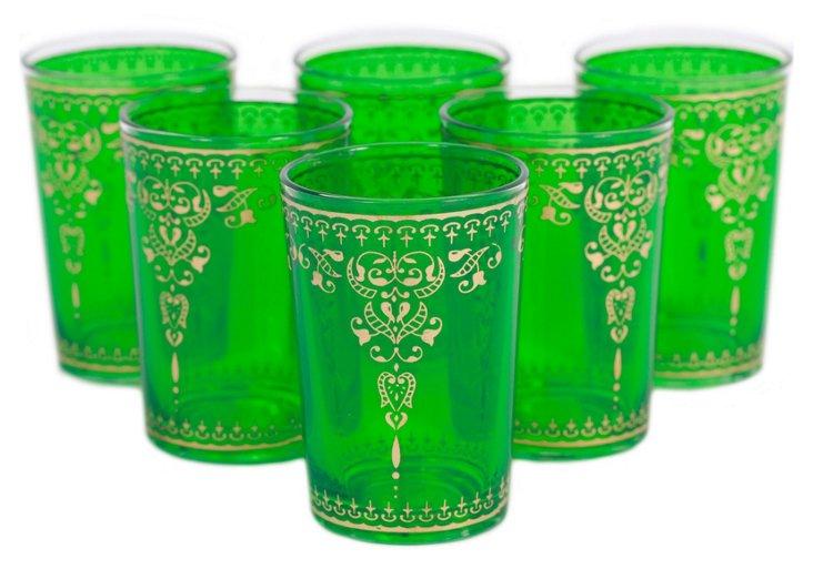 S/6 Yasmina Moroccan Glasses, Green