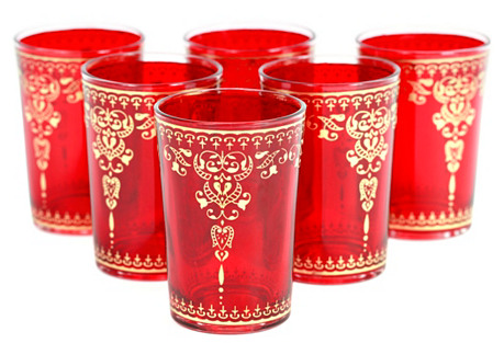 S/6 Yasmina Moroccan Glasses, Red