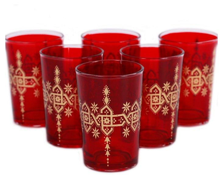 S/6 Yasmina Moroccan Glasses, Red