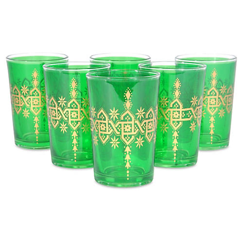 S/6 Souad Moroccan Glasses, Green