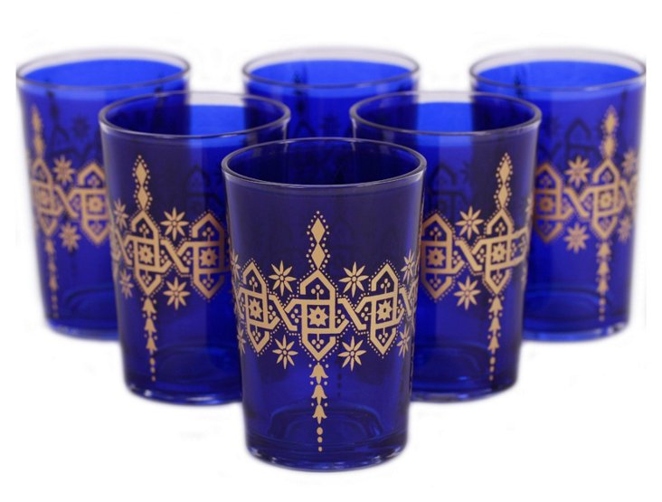 S/6 Souad Moroccan Glasses, Blue