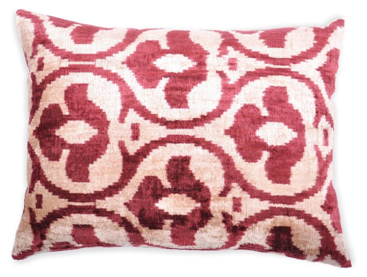Ikat 15x19 Silk Pillow, Red/White