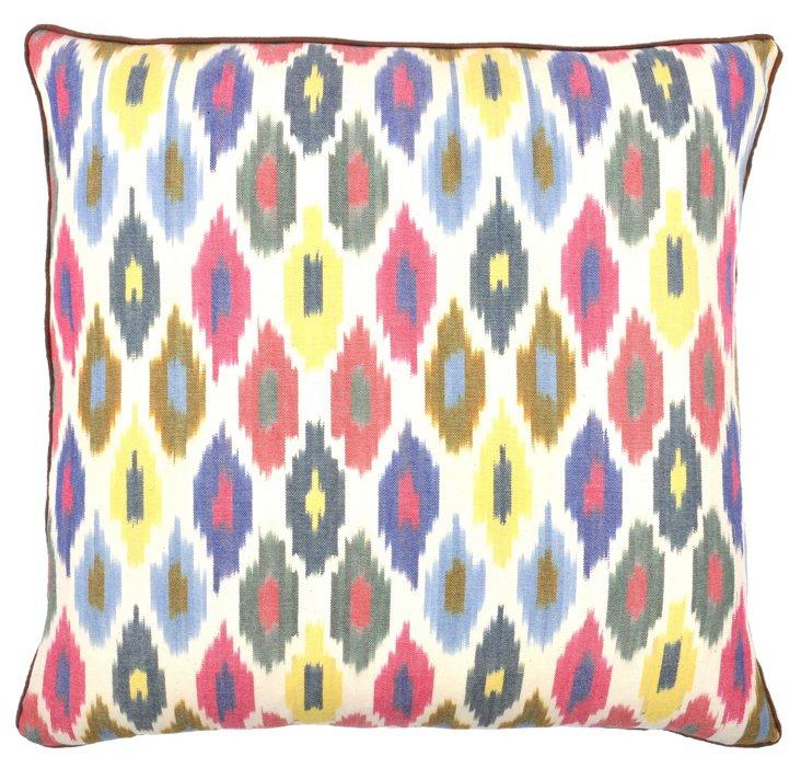 Ikat 20x20 Cotton Pillow, Multi