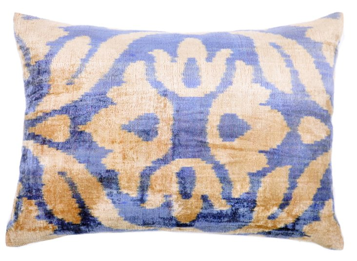 Flower 15x23 Velvet Pillow, Blue