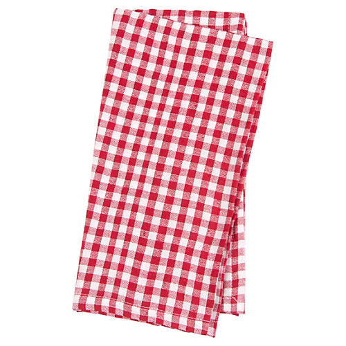 S/4 Gingham Linen Napkins, Red