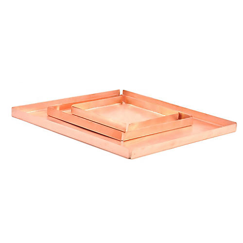 S/3 Handmade Trays, Polished Copper