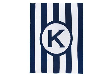 Caskata Monogram Stripe Cotton Throw, Navy