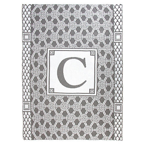 Caskata Monogram Geometric Cotton Throw, Gray