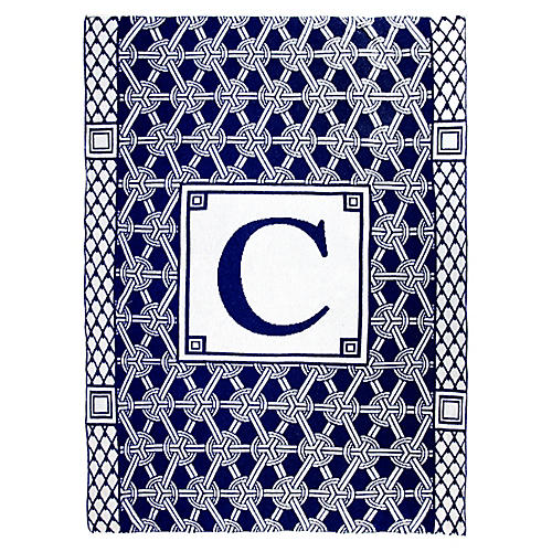 Caskata Monogram Geometric Cotton Throw, Navy