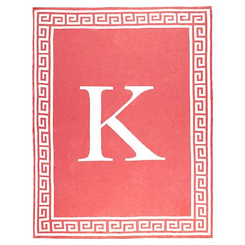 Greek Key Monogram Cotton Throw, Coral
