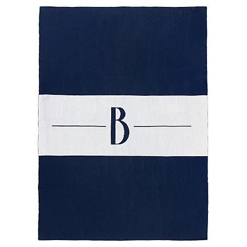 Center Stripe Monogram Cotton Throw, Navy