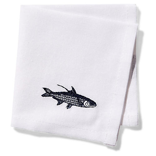 S/4 School of Fish Cocktail Napkins, Blue/White