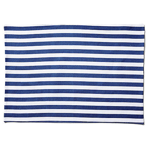 S/4 Beach Towel Stripe Place Mats, Blue/White