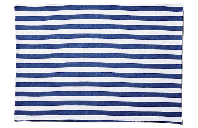 S/4 Beach Towel Stripe Place Mats, Blue/White
