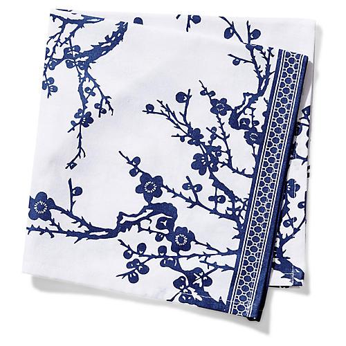 S/4 Quince Dinner Napkins, Blue/White