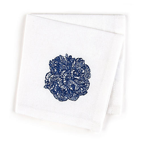 S/4 Peony Cocktail Napkins, Blue/White