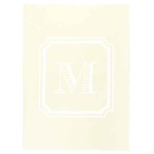 Custom Knit Monogram Cotton Throw, Cream