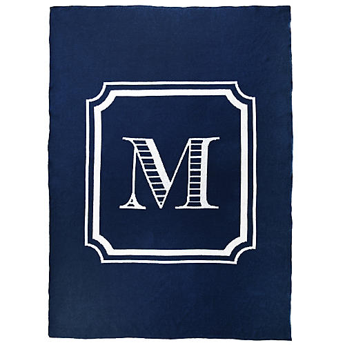 Custom Knit Monogram Cotton Throw, Navy