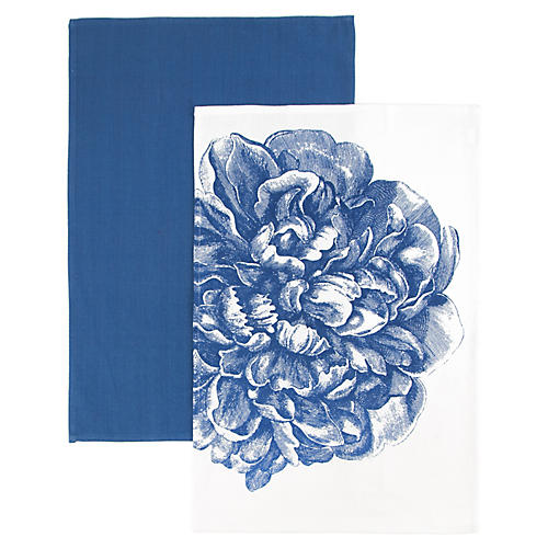 S/2 Peony Kitchen Towels, Blue/White