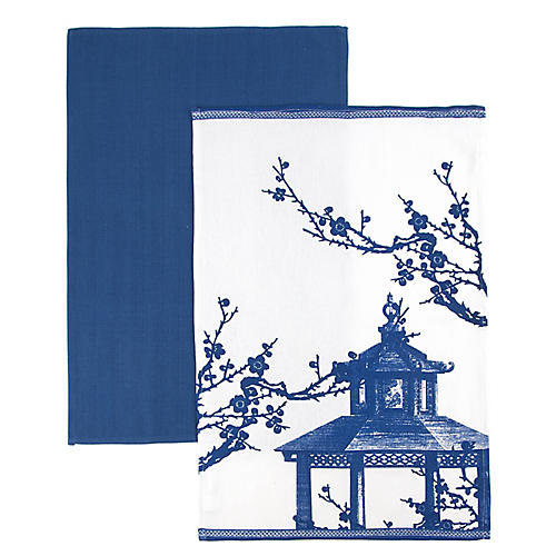 S/2 Quince Kitchen Towels, Blue/White