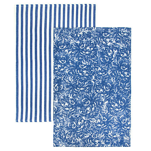 S/2 Peony Stripe Kitchen Towels, Blue/White