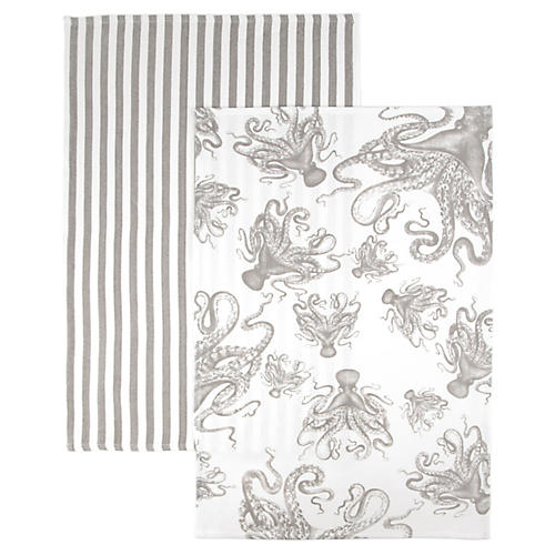 S/2 Octopus Stripe Kitchen Towels, Gray/White