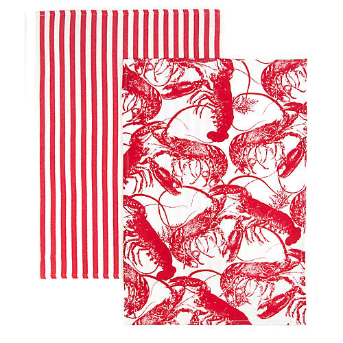 S/2 Lobster Stripe Kitchen Towels, Red/White