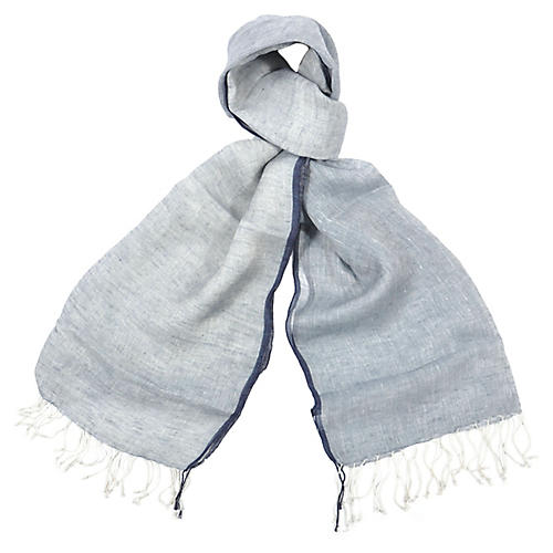 Charleston Linen Scarf, Blue