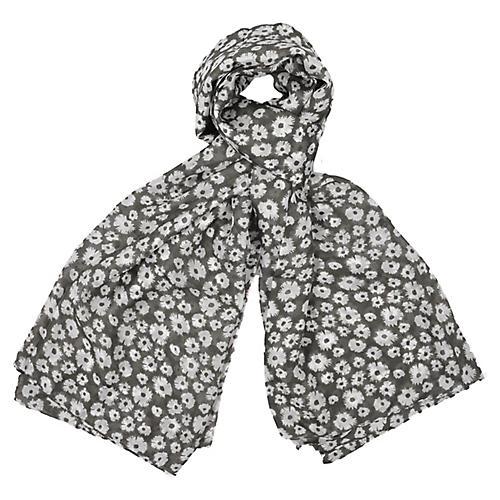 Floral Silk Scarf, Gray