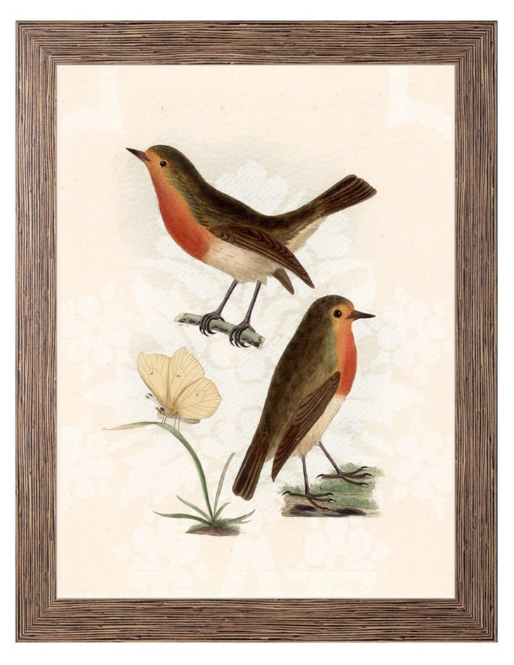 Curious Songbirds on Beige Background A