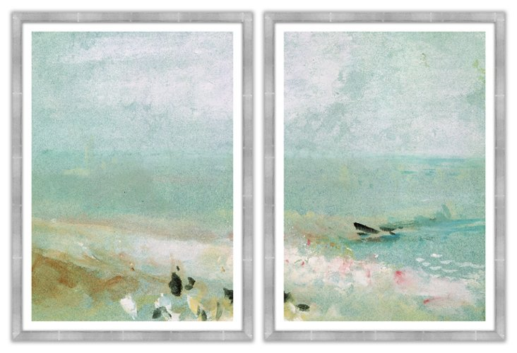 Morning Mist by the Ocean Diptych