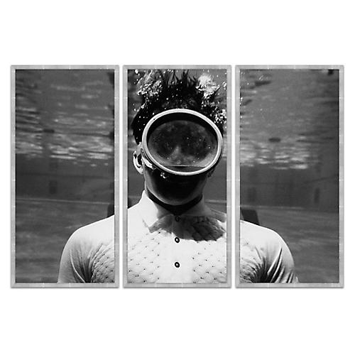 Man Under Water in Grayscale, Triptych