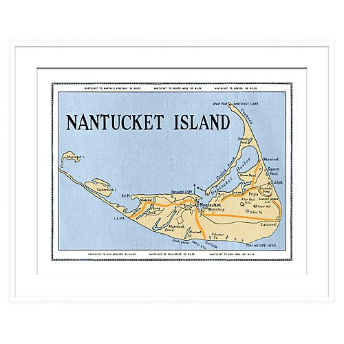 Nantucket Map in White Frame