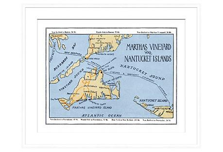 Marthas Vineyard Map in White Frame