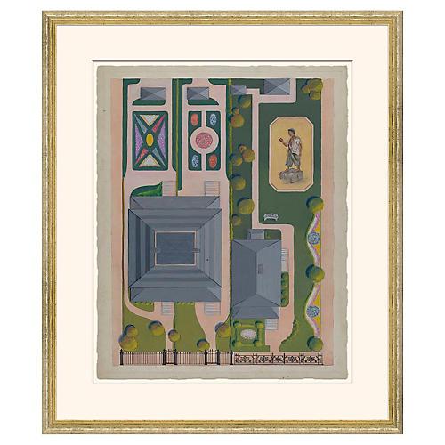 Garden Plans in Gold Frame, II