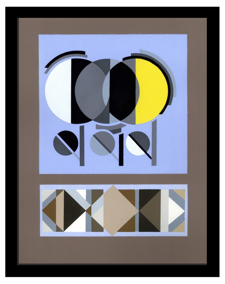 Blue Pochoir Black Frame