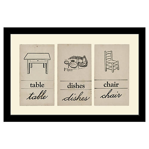 Vintage Flashcards-Table, Dishes, Chair