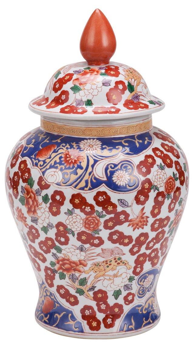 """16"""" Blossom Porcelain Ginger Jar, Red"""