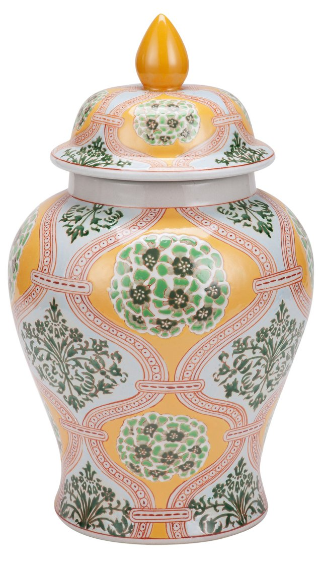 "16"" Burst Porcelain Ginger Jar, Green"