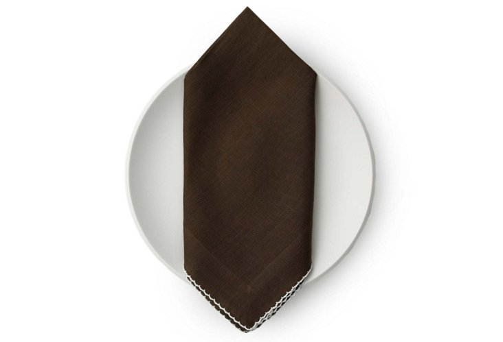S/4 Linen Dinner Napkins, Brown