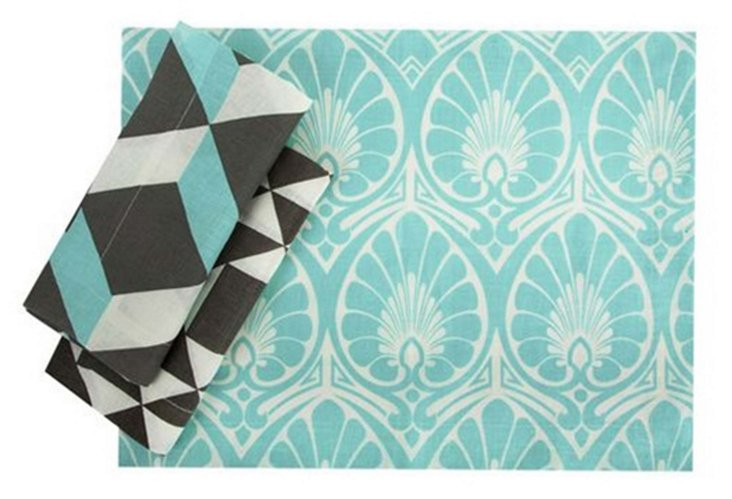 Set of 4 Fan Place Mats, Aqua