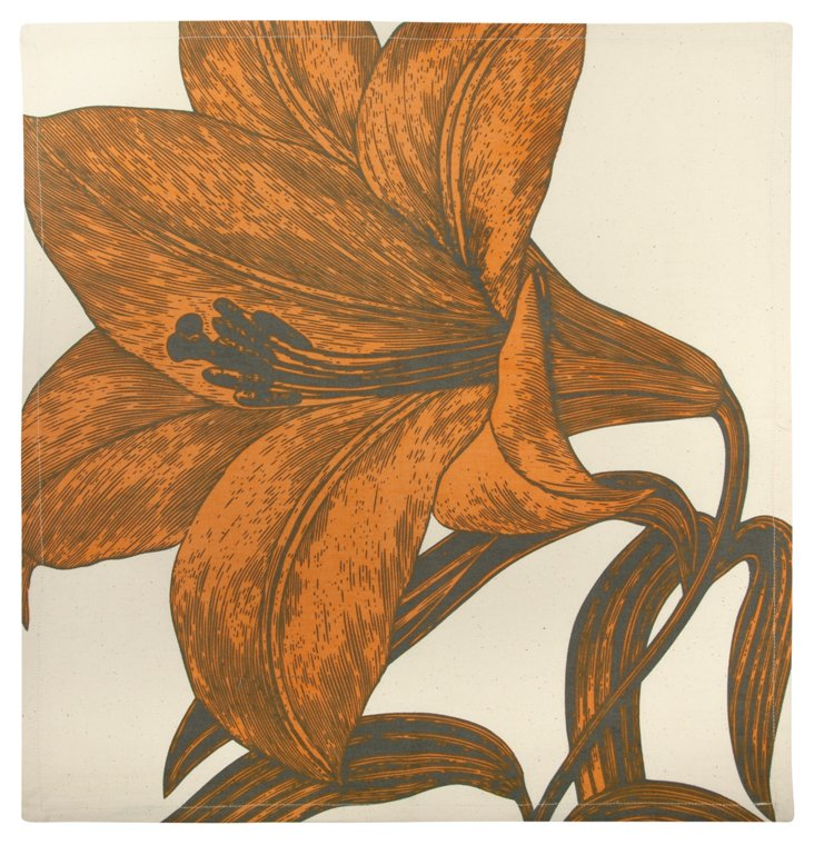 S/4 Lily Napkins, Orange