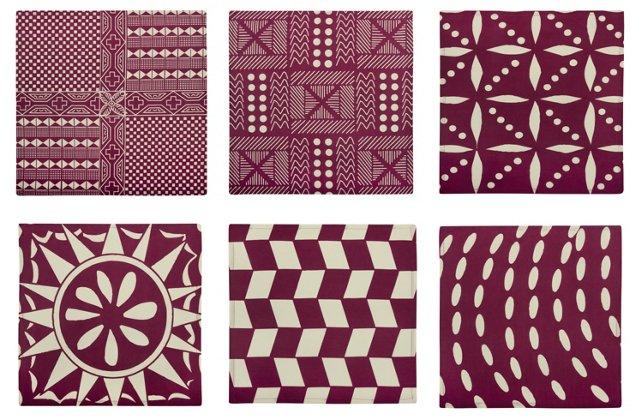 S/6 Assorted Afrique Napkins, Purple